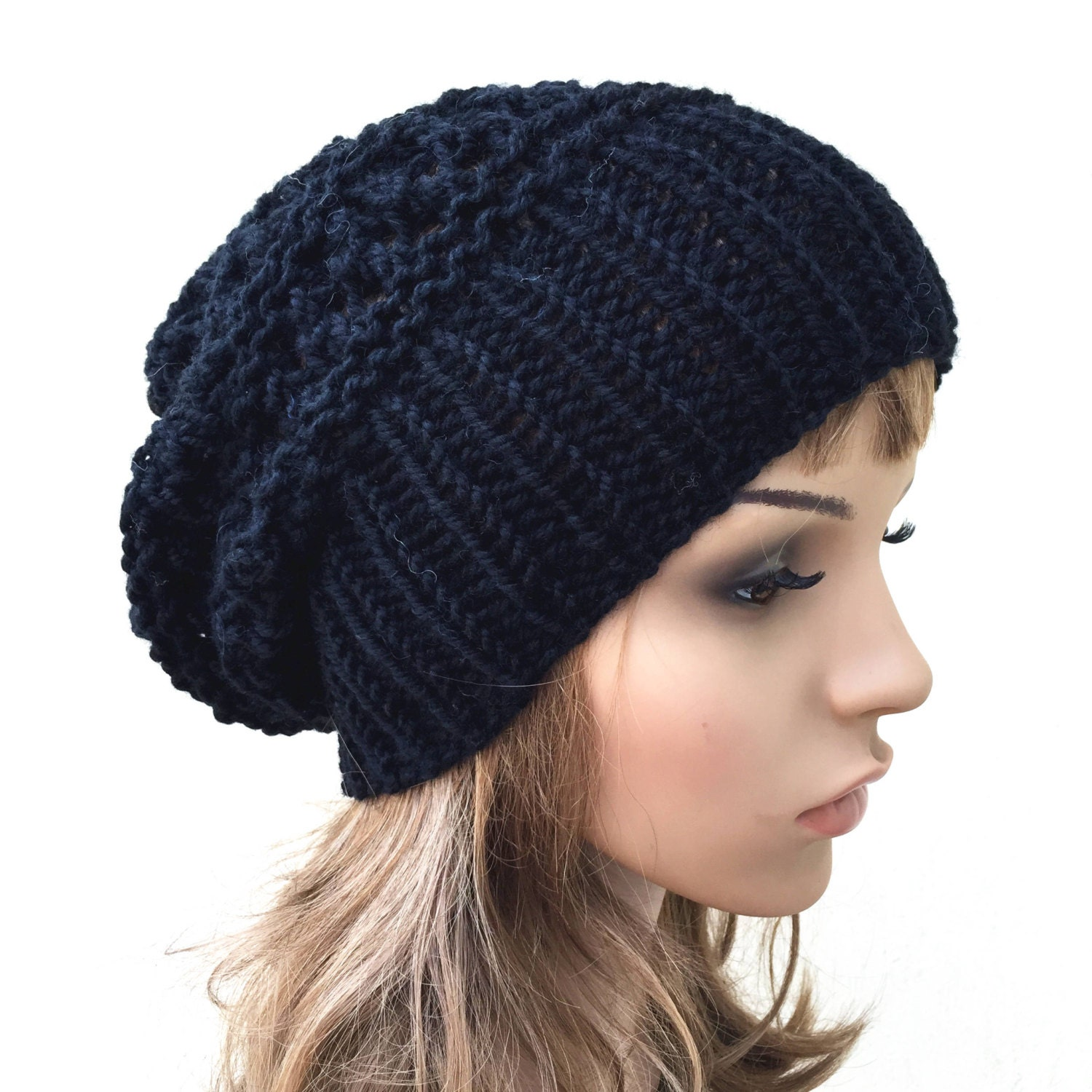 e9d64e8a8a7 Hand knit hat - Oversized Chunky Wool Hat slouchy hat in black. 1