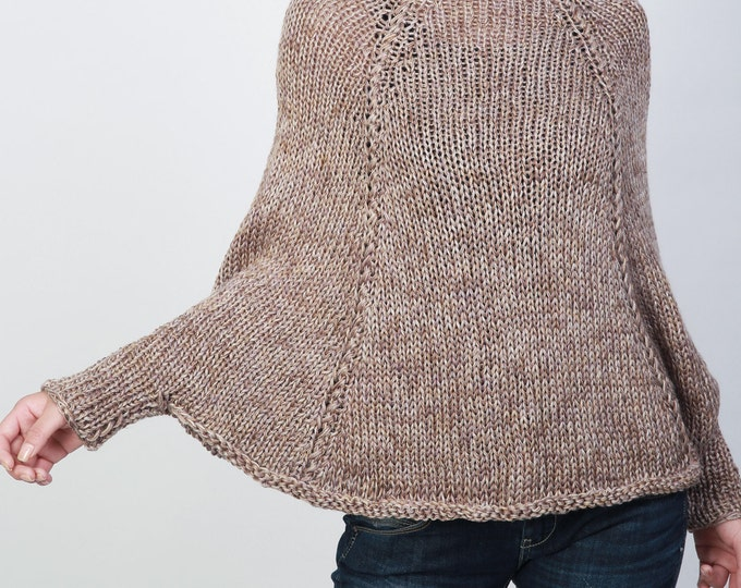 Handknit cotton poncho knit sweater woman Top knit shrug in Camel