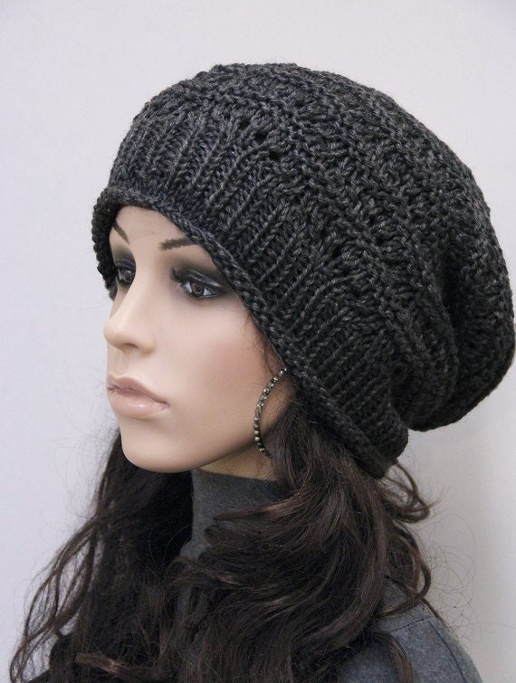 eb939ad05a5 Hand Knit hat unisex hat winter hat black hat Wool Hat