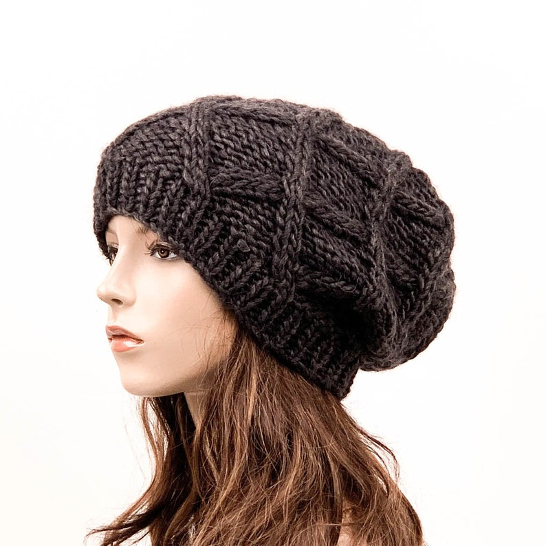 12c5f9d1372 Hand Knit Hat woman oversize chunky slouchy hat winter hat