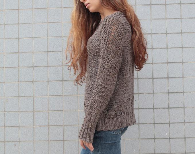 Hand knit sweater wool woman sweater long sweater Barley pullover sweater