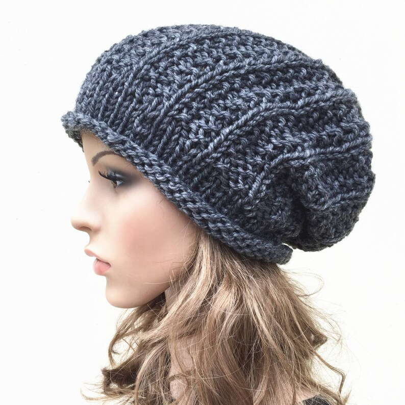458e436f4ba Hand knit hat Oversized Chunky Wool Hat slouchy hat in