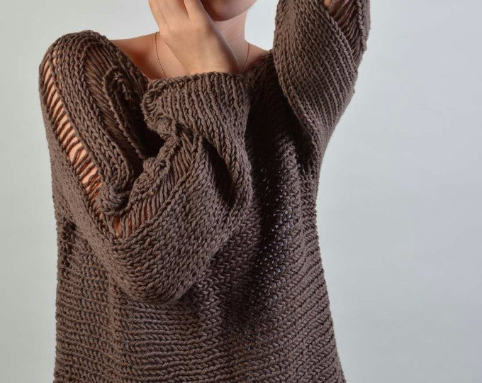Hand Knit Woman Sweater - Eco Cotton sweater in Barley