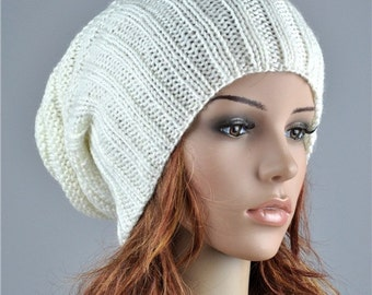 Hand knit hat Chunky Wool Hat white cream slouchy hat - ready to ship