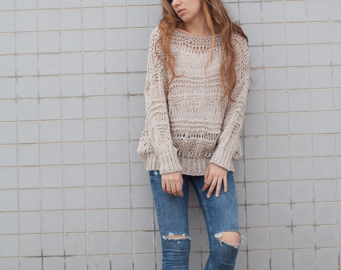 Hand knit sweater wool woman sweater long sweater Wheat loose knit pullover sweater