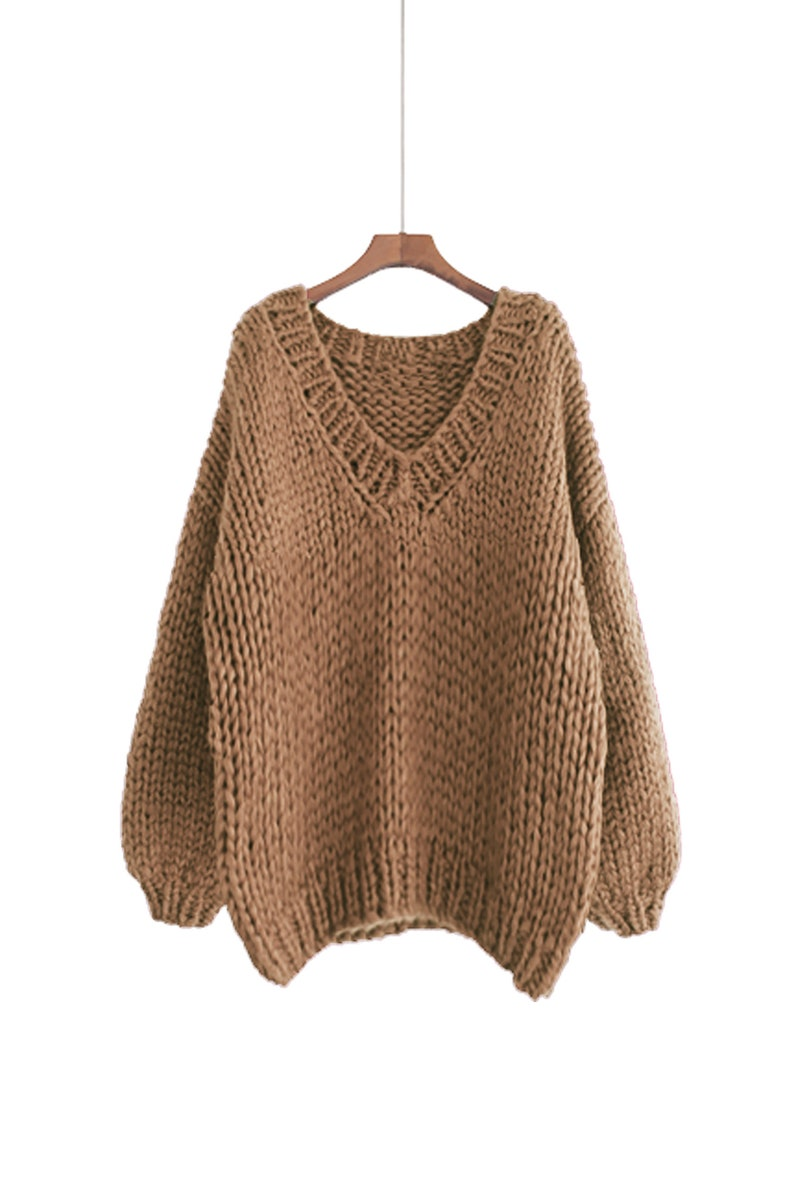 Hand knit WOOL sweater oversize woman pullover sweater V-neck image 0