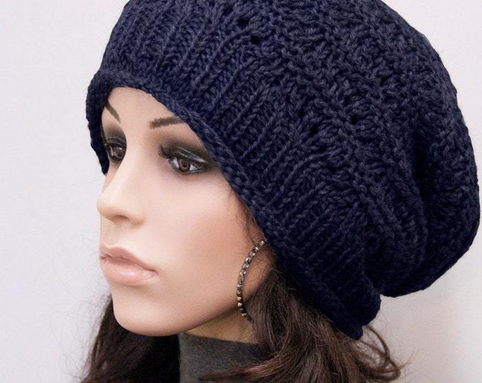 Hand knit woman men wool hat Navy slouchy  hat unisex hat-ready to ship