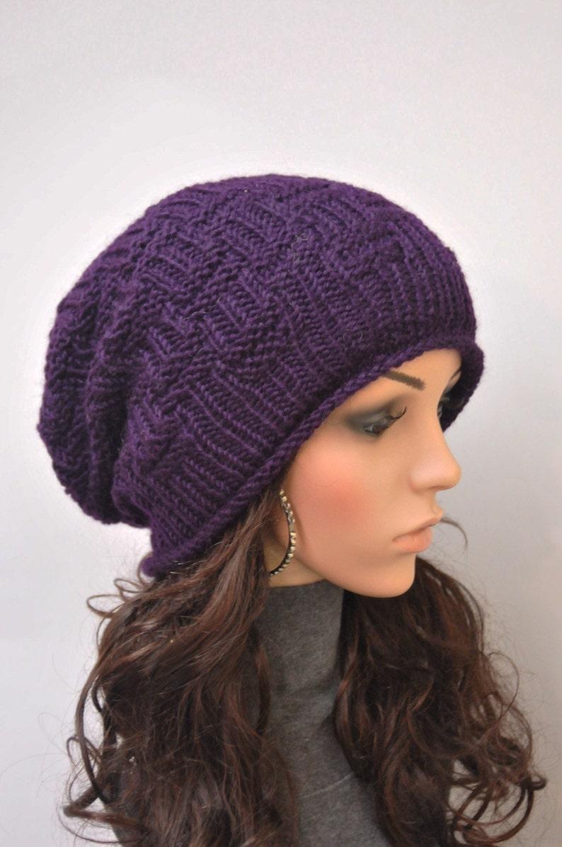 61f37658e2b Hand Knit hat woman winter hat slouchy hat Chunky Wool Hat