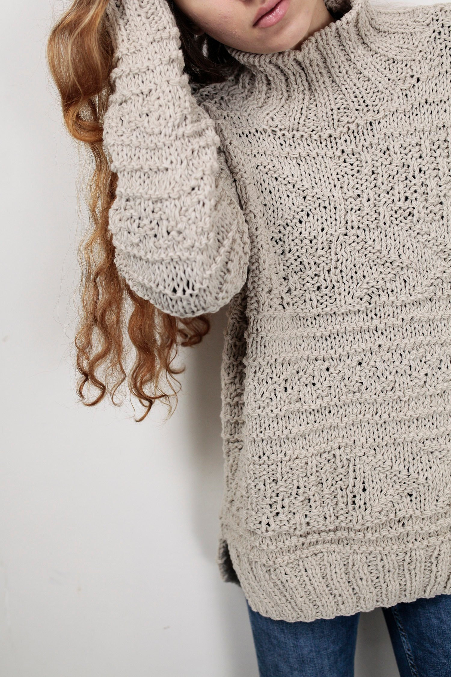 8cd0633f06 Hand knit oversized sweater wool woman sweater long sweater Wheat pullover  sweater. 1