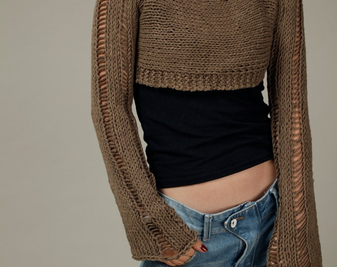Hand knit woman cropped sweater Little cover up top Mocha cotton sweater