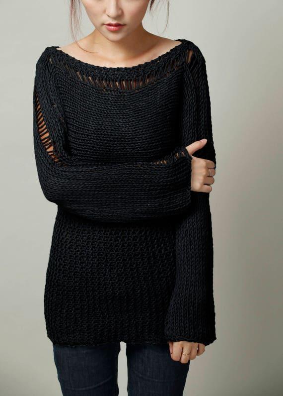 36fa20bb0d323 Chandail à la main en tricot femme pull Eco coton oversize   Etsy