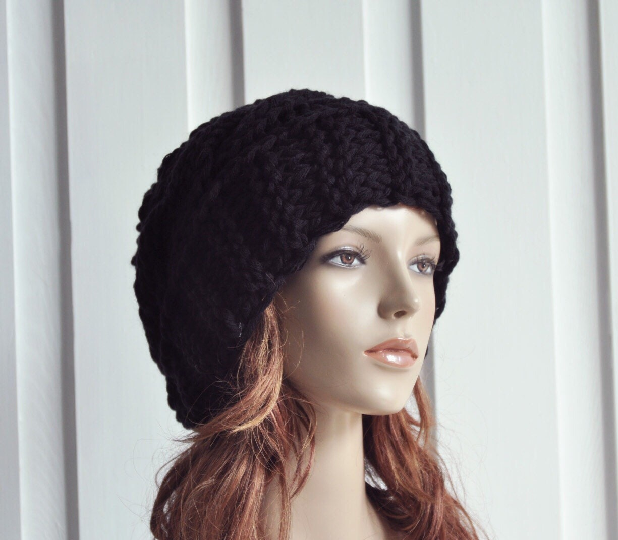 30d2d33fa7d7b Hand Knit Hat Womens Hat Cable Beret Hat Black Chunky Knit hat ...