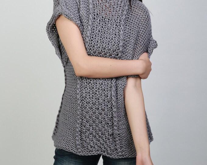 Hand knit sweater Eco cotton Tunic woman sweater in grey rolled edge Kimono sleeve woman sweater