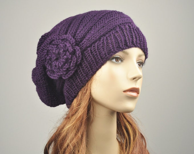 Hand Knit Hat woman hat winter hat Oversized Beret Hat crochet flower Deep purple wool hat-ready to ship