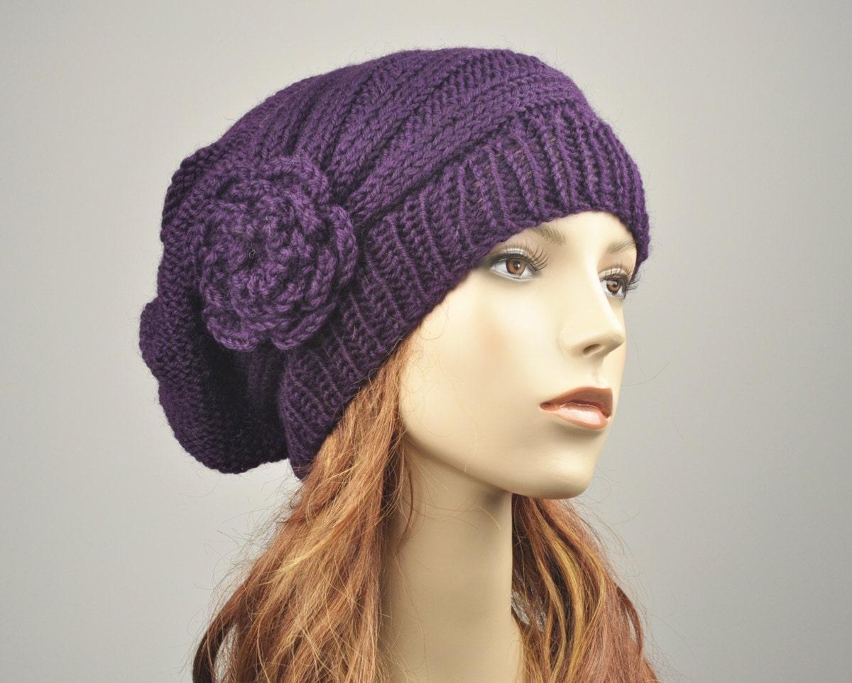 887c3f6d0 Hand Knit Hat woman hat winter hat Oversized Beret Hat crochet ...