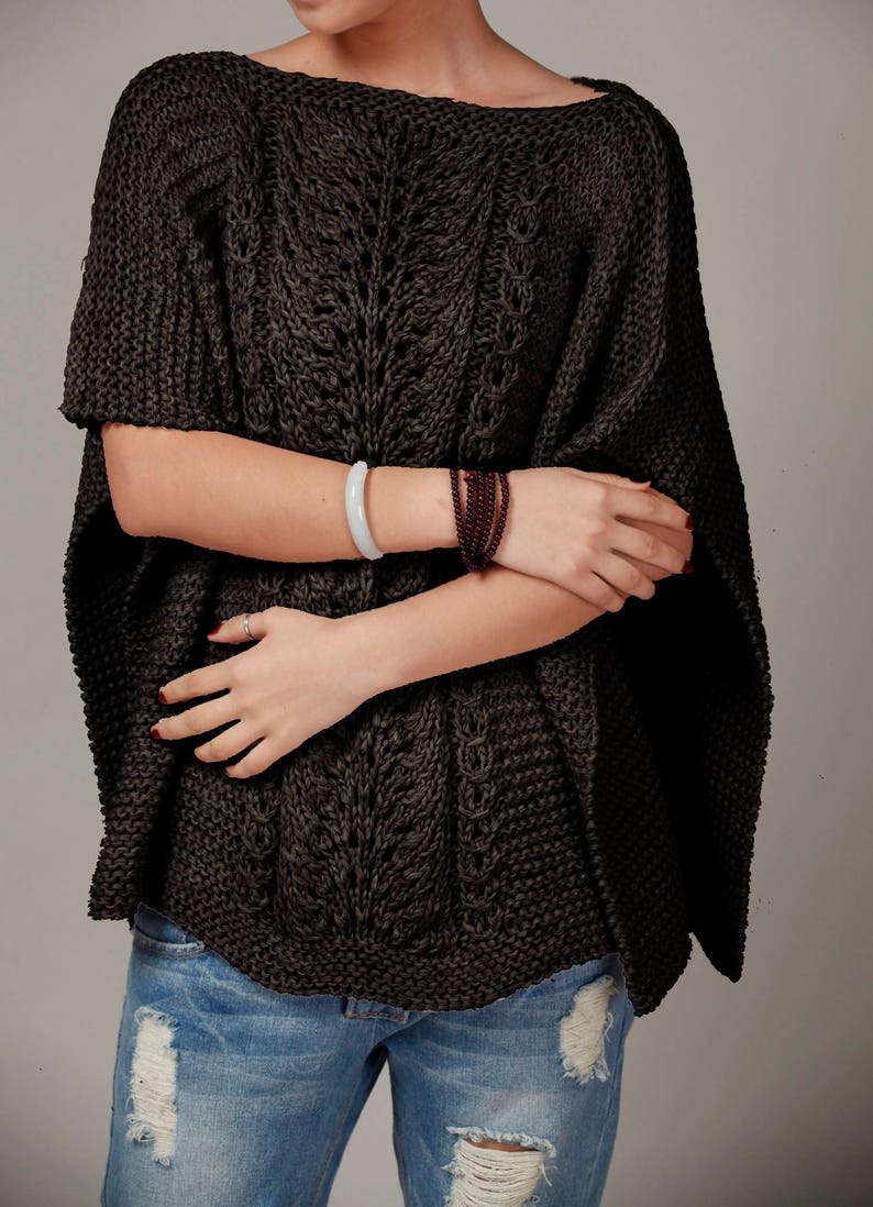 21793e5ffc Hand knit woman cotton Poncho capelet Black sweater