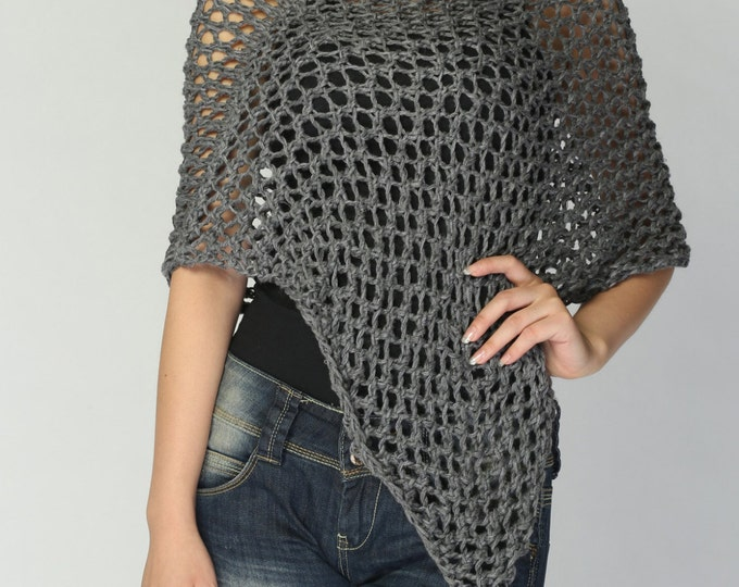Hand knitted Little cotton poncho knit scarf knit shrug in Charcoal/ Dark Grey