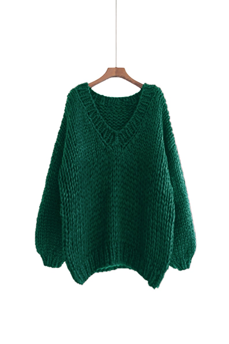 Hand knit COTTON sweater oversize pullover woman sweater Emerald