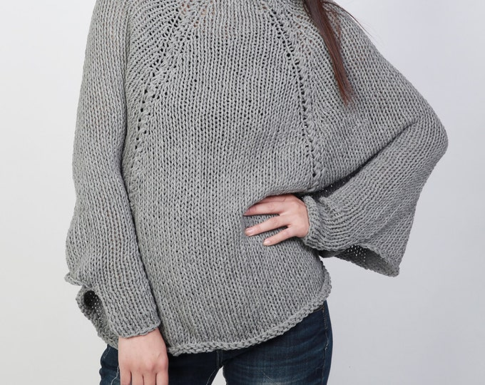 Handknit cotton poncho knit sweater woman Top knit shrug in Grey