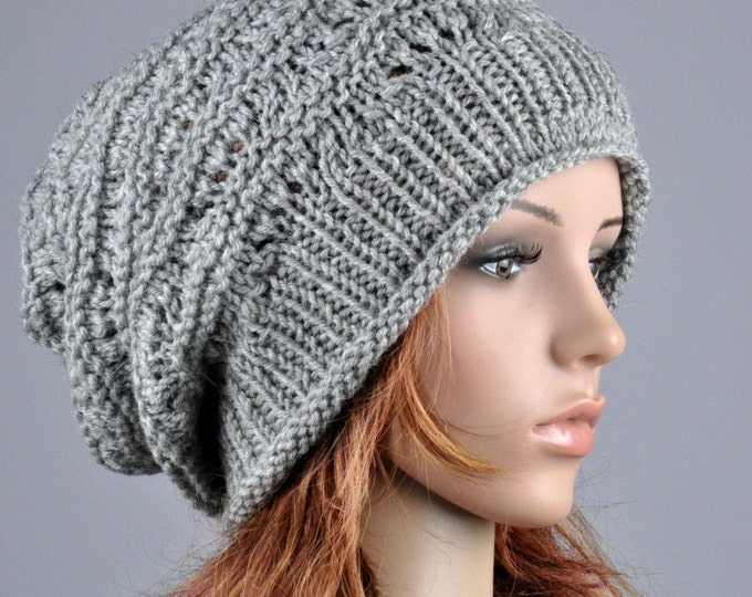 Hand knit hat woman winter hat Grey Chunky slouchy Hat - ready to ship