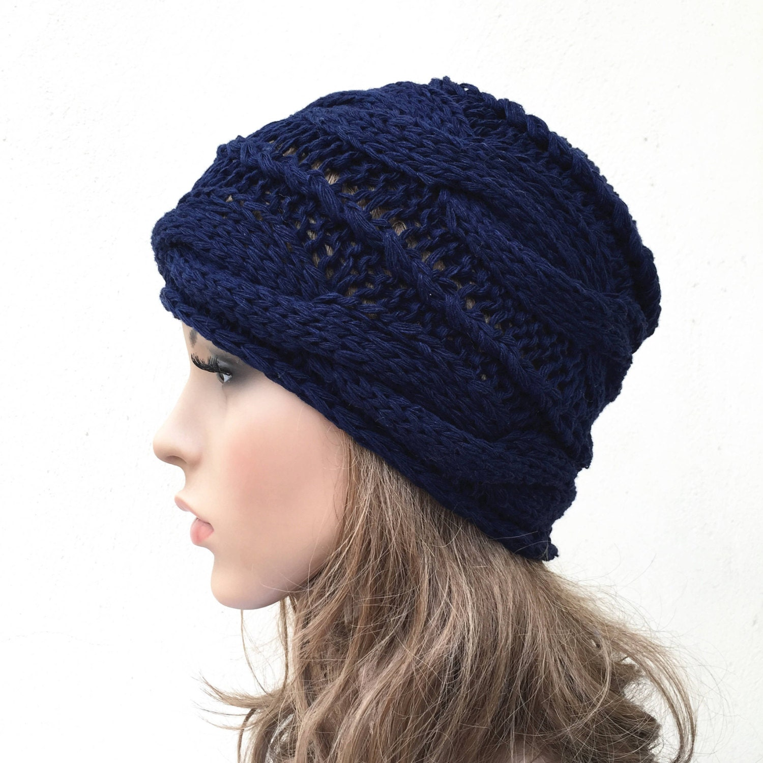 d5d4df2597b Hand knit woman hat Navy wool hat cable hat Womens Accessories Winter Hat. 1