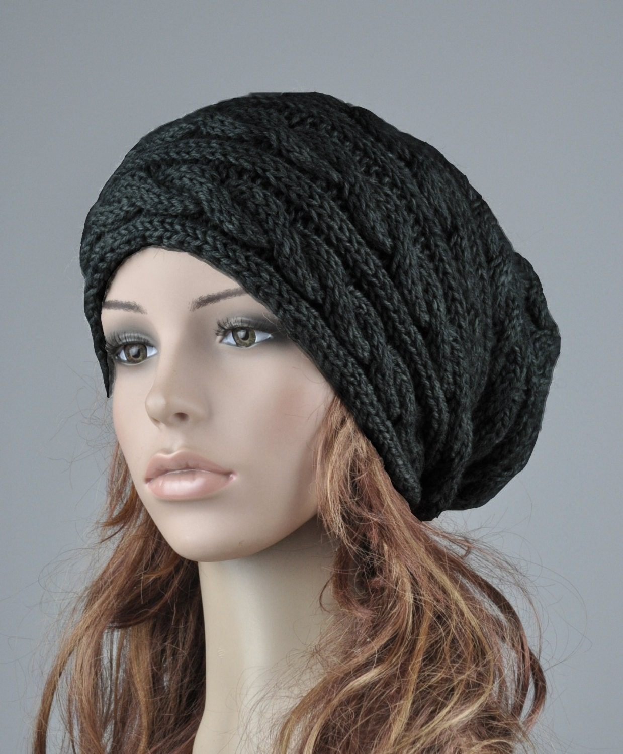 930a0aca3e6 Hand knit hat wool woman winter hat Black cable slouchy hat-ready to ship. 1