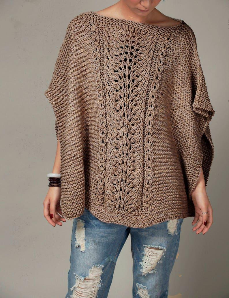 ba6349b25e Hand knit woman cotton Poncho  capelet Mocha sweater