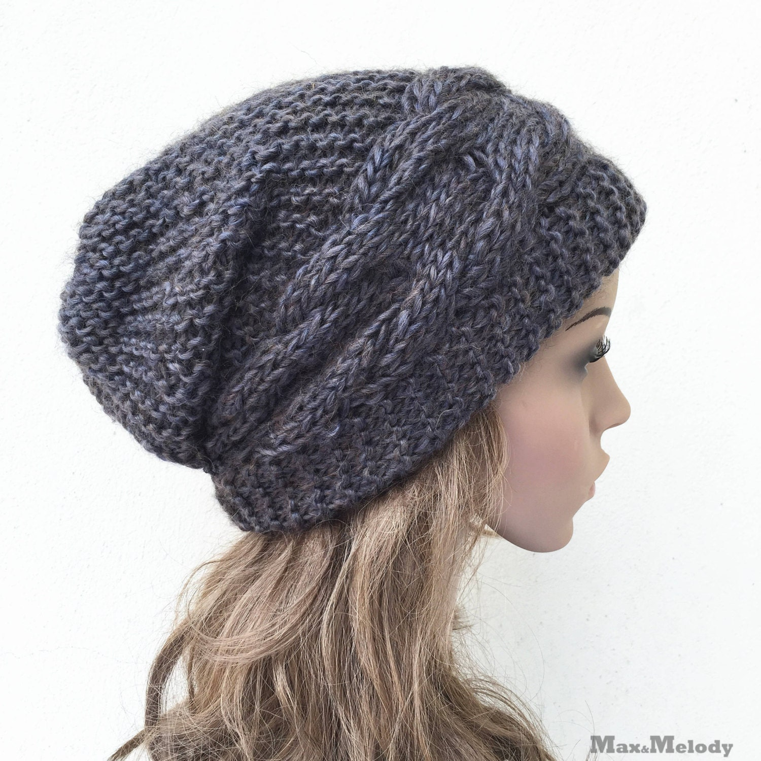 54f0f6d900a Hand knit hat Oversized Chunky Wool Hat slouchy hat dark Olive cable hat -  ready to ship. 1