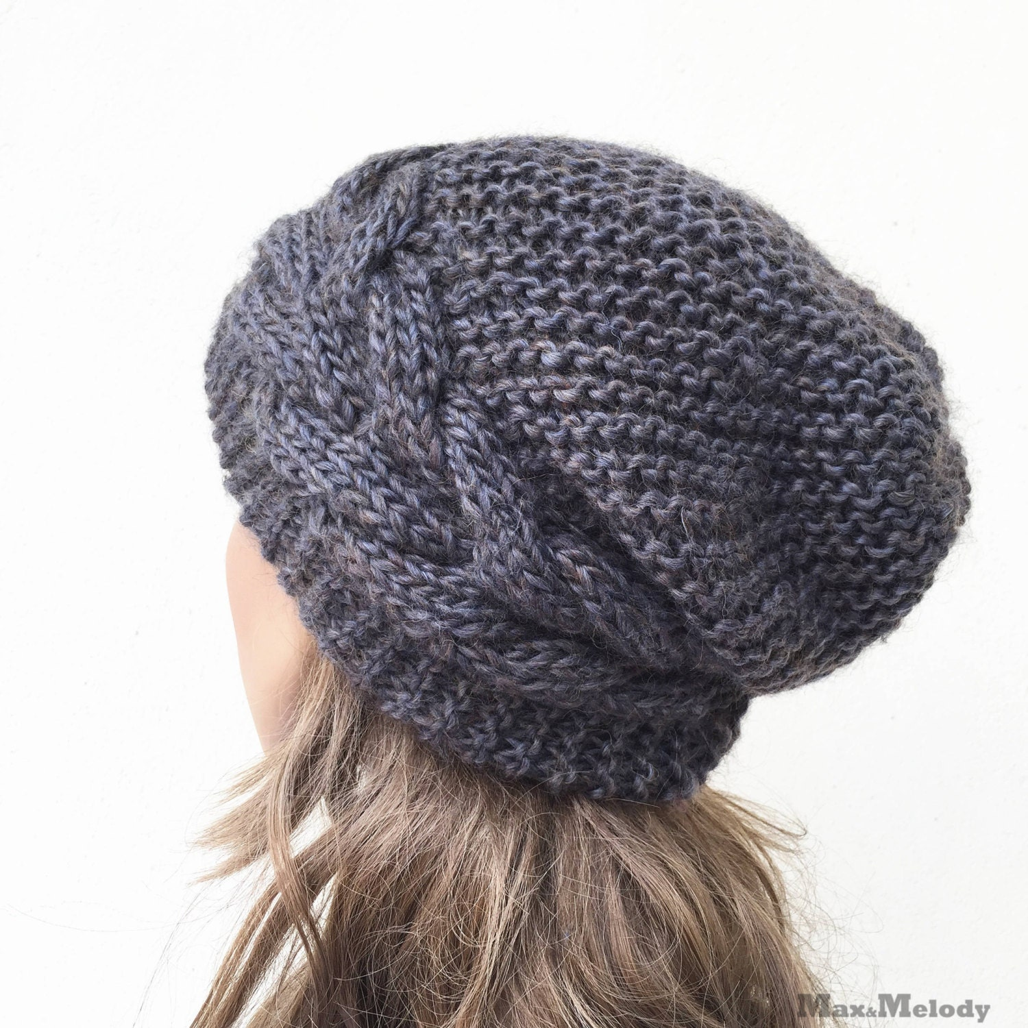 3e7b8339529 Hand knit hat Oversized Chunky Wool Hat slouchy hat dark Olive cable hat -  ready to ship