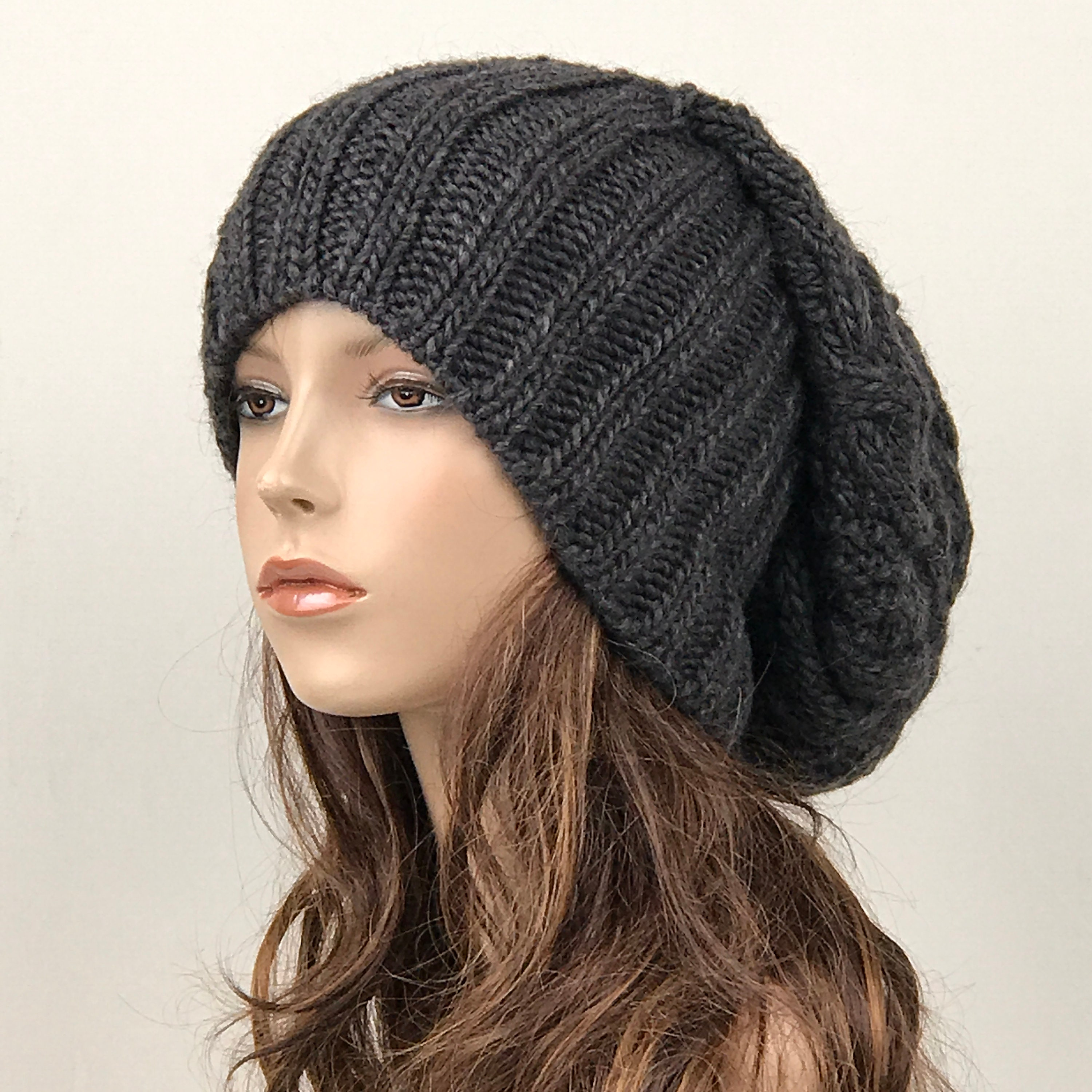 d19c43539bc Hand knit woman man unisex hat - Oversized Chunky Wool Hat ...