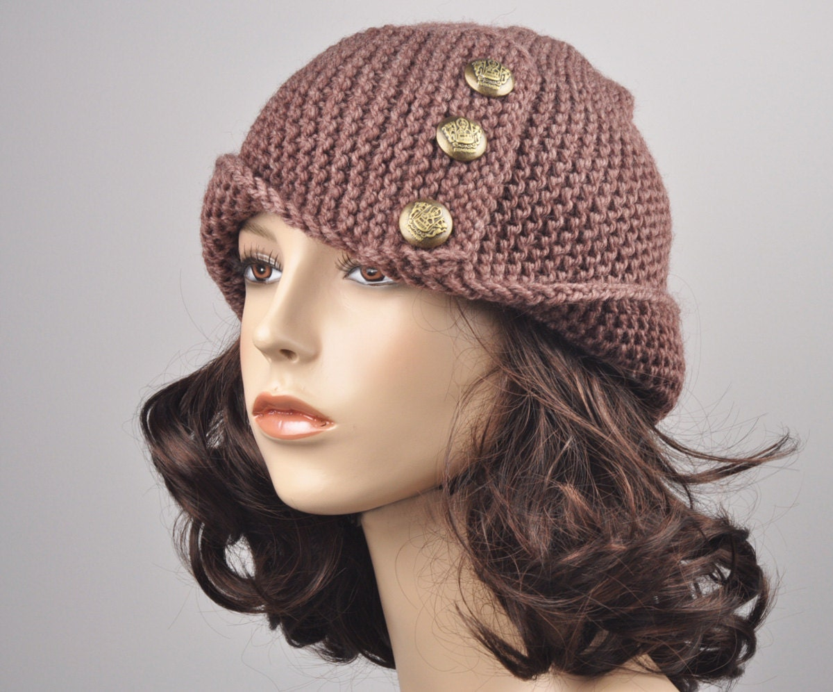 Hand knit woman hat Fold band hat in Mocha with button wool hat ... 9432b60bae64