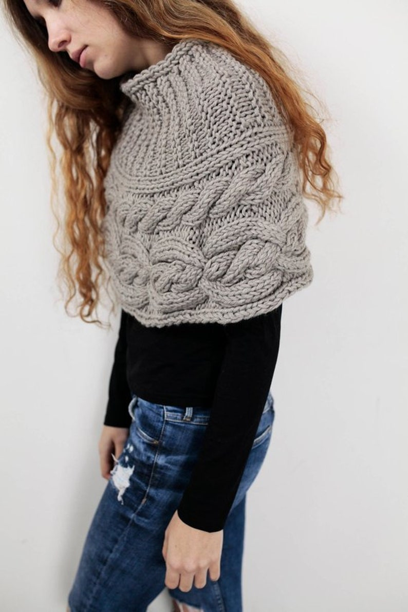 a1f000938f Hand knit woman poncho Wheat capelet Chunky Neck