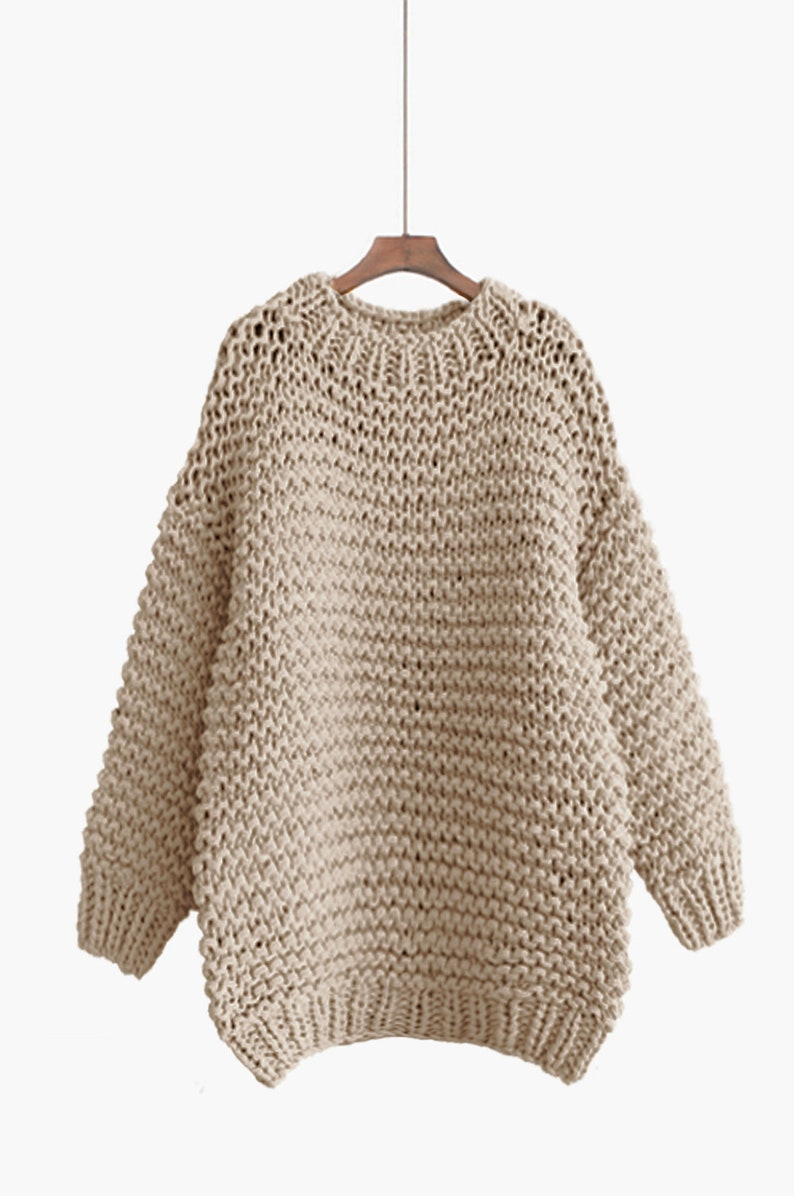Hand knit COTTON oversized woman sweater Crew neck slouchy Wheat