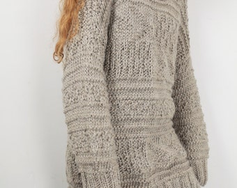 Hand knit oversized sweater wool woman sweater long sweater alomond pullover sweater