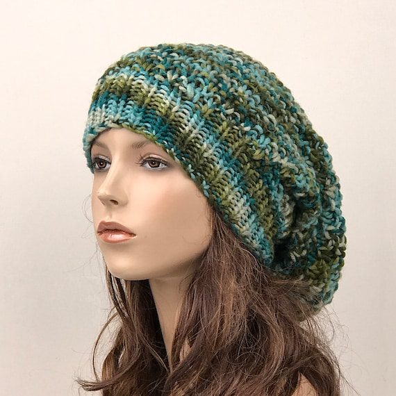 Hand knit woman hat Oversized Wool Hat slouchy hat green  c7ddc459af7