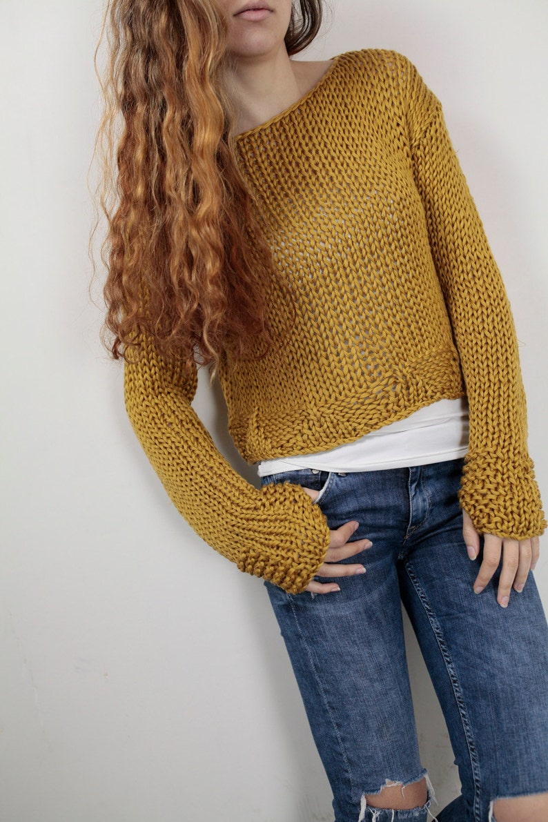 Hand knit woman cotton sweater cropped top pullover sweater image 0