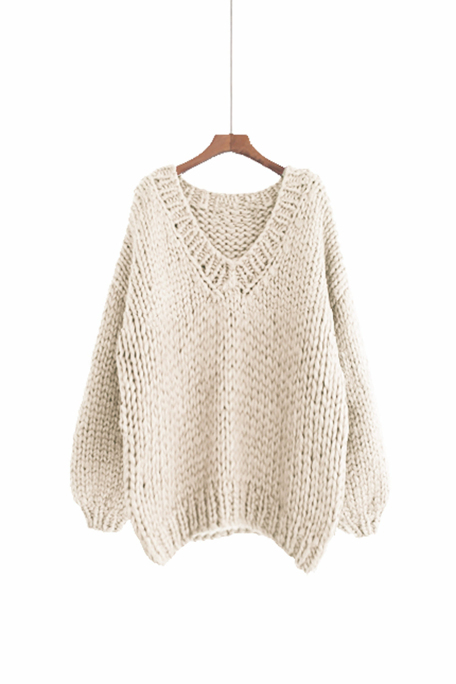 3fc1313d8a1 Hand knit oversize woman sweater V-neck slouchy wool white cream ...