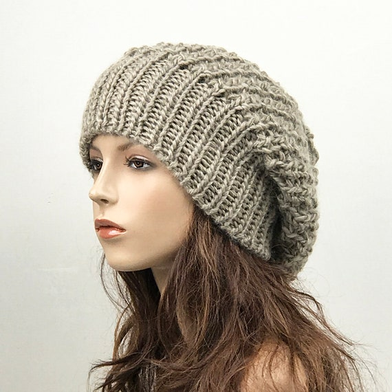 Hand knit woman hat Oversized Chunky Wool Hat slouchy hat  efe2a0c4020