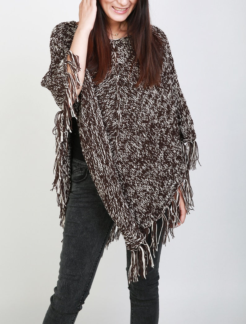 62047fc6f9 Hand Knit woman poncho brown white mixed color shrug fringe