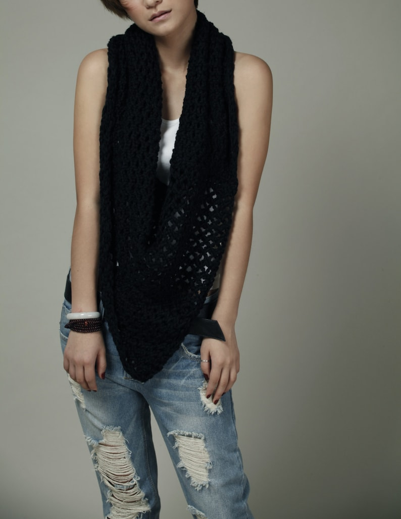 Hand Knit Little cotton poncho Scarf in Black-ready to ship