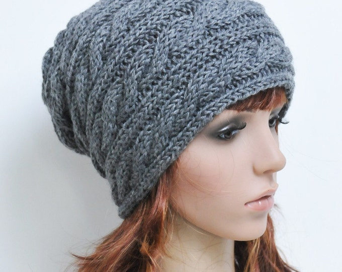 Hand knit wool unisex hat Charcoal Dark greyy cable Hat