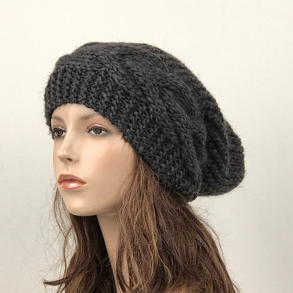 Hand knit hat Oversized Chunky Wool Hat slouchy hat charcoal  2f54d4c5c9a