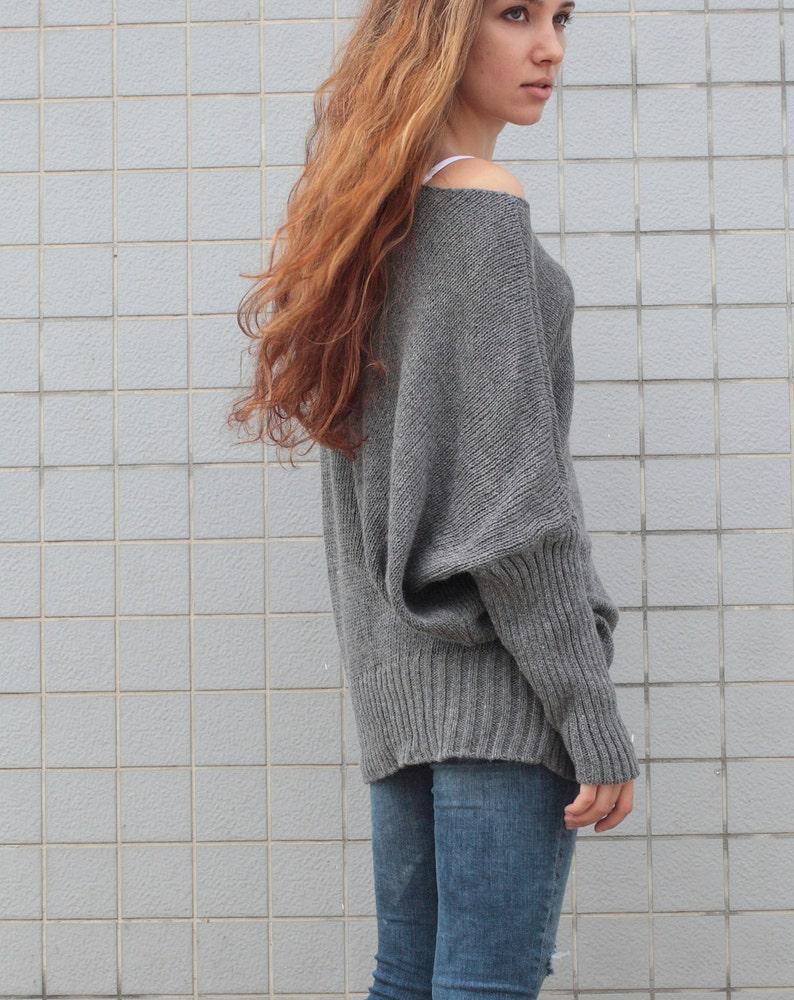OVERSIZED Woman sweater Knit sweater kimono sleeve charcoal grey pullover wool sweater