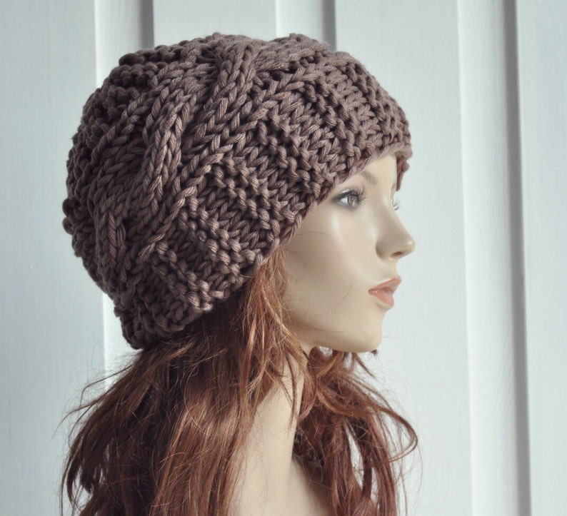 7cade554c45e9 Hand Knit Hat Womens Hat   Cable Beret Hat in Barley   Chunky