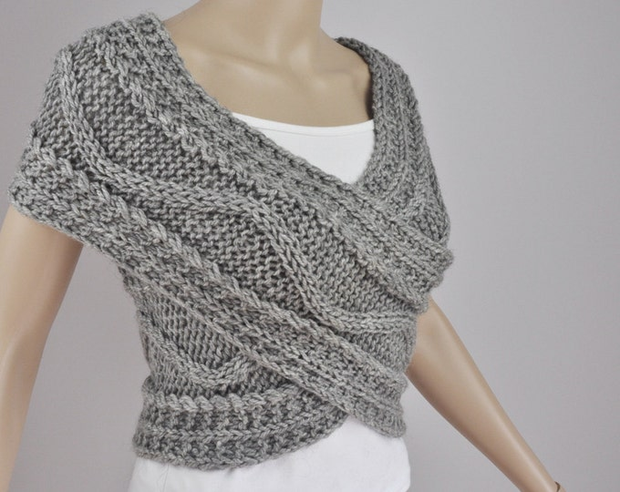 Hand knit woman sweater wool vest Cross Sweater Capelet Neck warmer scarf grey-Ready to ship