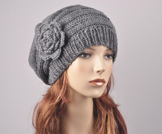 Women winter charcoal hat wool hat gray hat hand knit Ready to ship