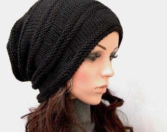 Hand Knit hat woman hat man hat Black Chunky Wool Hat Slouchy hat -ready to ship