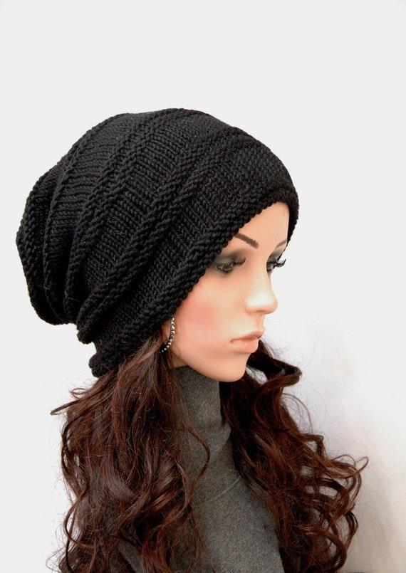 À la main tricot bonnet femme chapeau homme chapeau noir grosse laine  chapeau Tuque , prêt à expédier