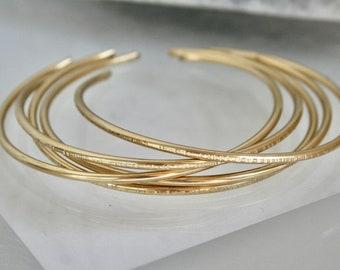 Set of Five Brass Stacking Cuff Bracelets, Bangle Set, Gold Bracelets, Hammered Cuffs, Hammered Bracelets, Minimal cuffs, Set of Cuffs