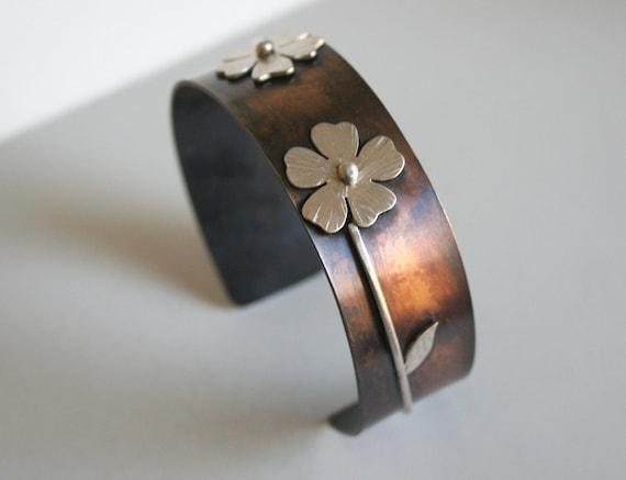 Hippie Chic Boho Jewelry Brass Soldered Patina Cuff Bracelet Free Shipping